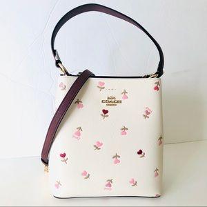 Coach Small Bucket Bag Heart Floral White Purse